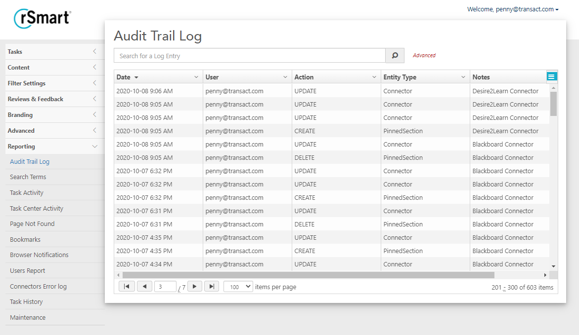 Analytics for Continuous Improvement.Monitor User Habits.Image of Audit Trail in OneCampus
