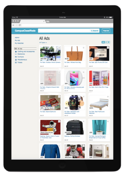 Features Overview.Safe Marketplace.Provide a Safe Shopping Experience.Image of CampusClassifieds on a Tablet
